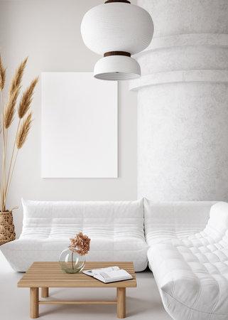 Mockup poster frame in minimalist modern interior background, 3d render Banco de Imagens - 162695380