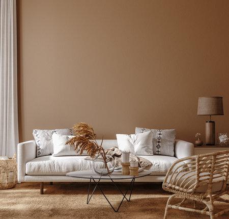 Boho style home interior, living room in brown warm color, 3d render Banco de Imagens
