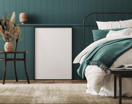 Mockup frame in cozy dark blue bedroom interior background, farmhouse style, 3d render Banco de Imagens