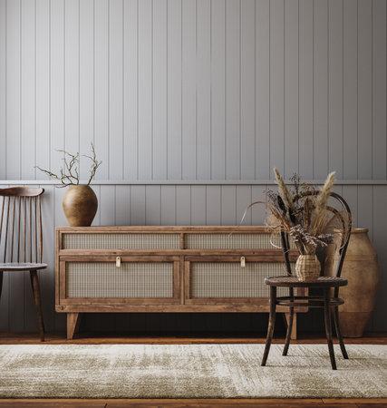 Dark living room interior, farmhouse style, 3d render