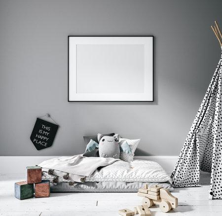 Contemporary children room, wall frame mockup, 3d render Banco de Imagens - 162695389