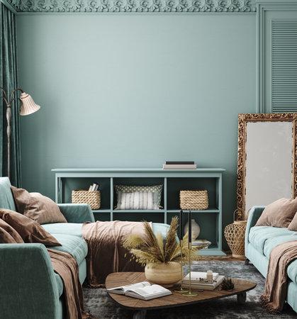 Bohemian home interior background, 3d render Banco de Imagens