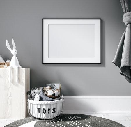 Contemporary children room, wall frame mockup, 3d render Banco de Imagens