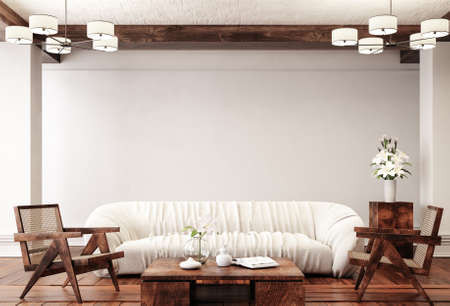 Traditional home interior background, 3d render Banco de Imagens