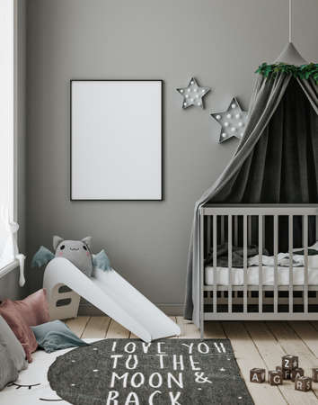 Poster frame mockup in contemporary children room, 3d render