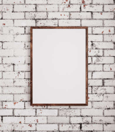 Mockup poster frame close up standing on wooden floor near old brick wall, 3d render