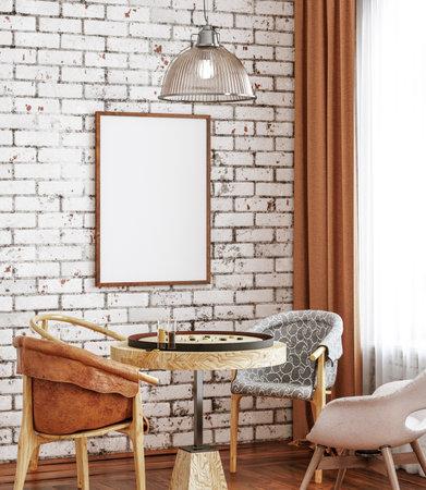 Mock up frame in loft interior, 3d render Banco de Imagens