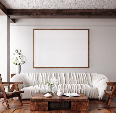 Mockup frame in traditional home interior background, 3d render