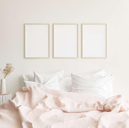 Mockup frames in minimalist modern bedroom interior background, Scandinavian style, 3D render