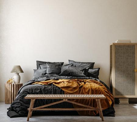 Ethnic style bedroom interior background, 3d render