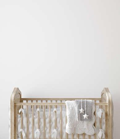 Wall mock up in nursery interior background, 3D render