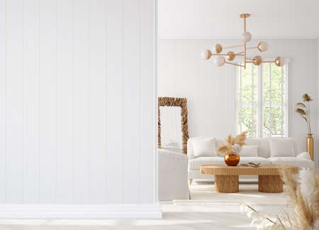 Coastal boho living room interior background, wall mockup, 3d render 版權商用圖片
