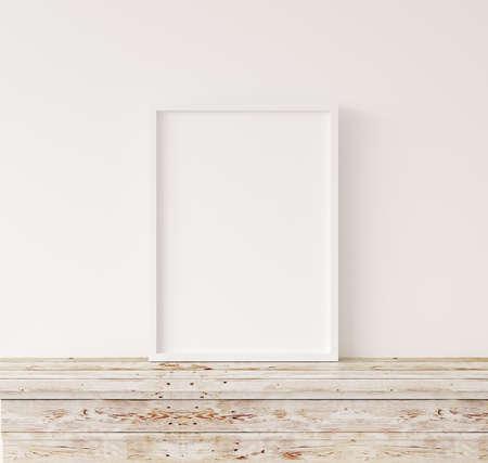 Mock up frame in home interior background, white room with natural wooden furniture, Scandi-Boho style, 3d render 版權商用圖片