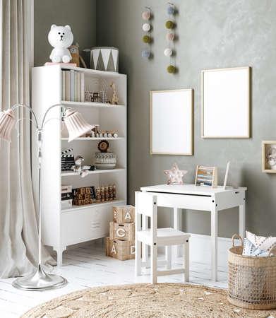 Mock up frame in children room interior background, Scandinavian style, 3D render Banco de Imagens