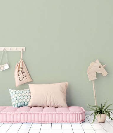 Cozy nursery interior background, Scandinavian style, 3D render
