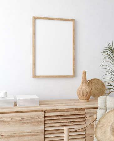 Mock up frame in home interior background, white room with natural wooden furniture, Scandi-Boho style, 3d render Banco de Imagens