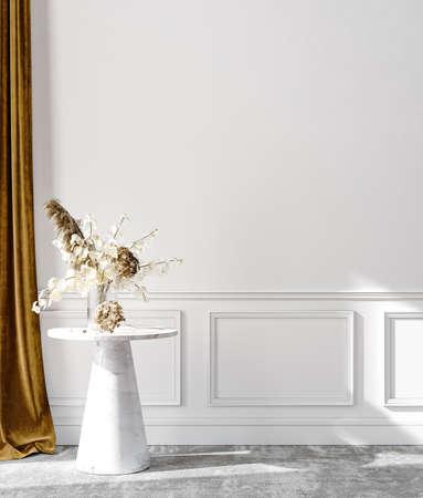 Minimalist modern living room interior background, wall mockup, 3D render