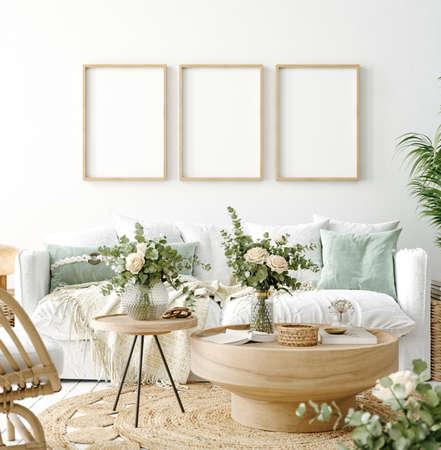 Mockup frame in coastal boho living room interior background, 3d render 版權商用圖片