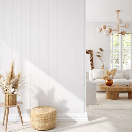 Coastal boho living room interior background, wall mockup, 3d render Banco de Imagens