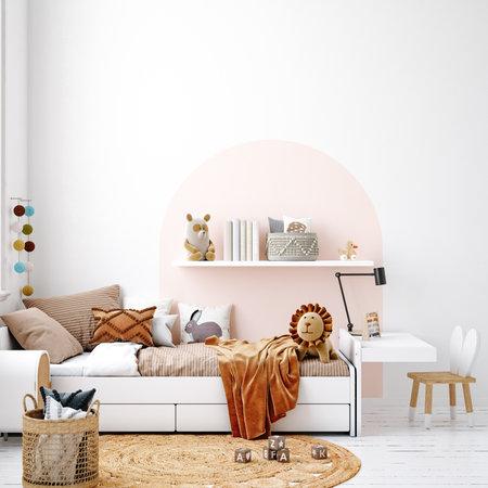 White cozy children room interior background, Scandinavian style, 3D render 版權商用圖片