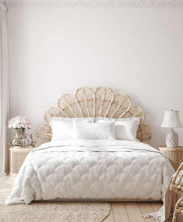 Luxury feminine bedroom interior background, wall mockup, 3d render 版權商用圖片