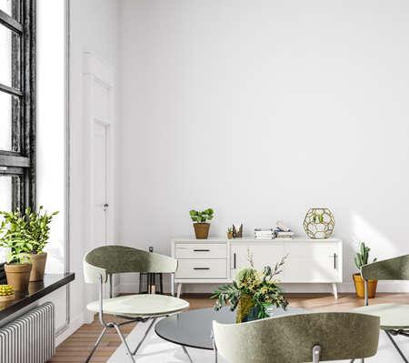 Living room interior in loft, industrial style, 3d render 版權商用圖片