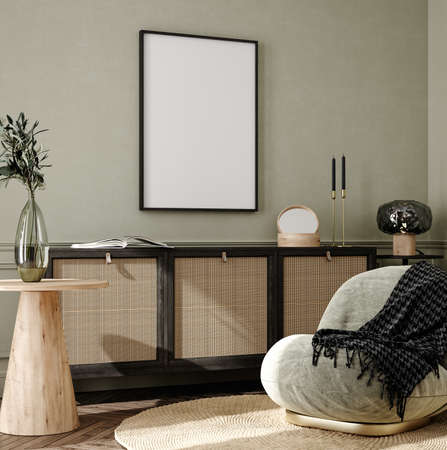 Home interior background, cozy room with natural wooden furniture, Scandi-Boho style, 3d render 版權商用圖片