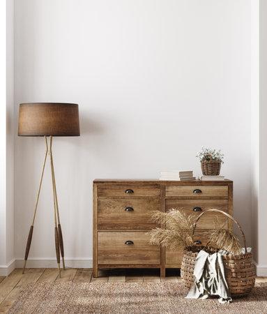 Home interior background, cozy room in farmhouse style, 3d render 版權商用圖片 - 164704800