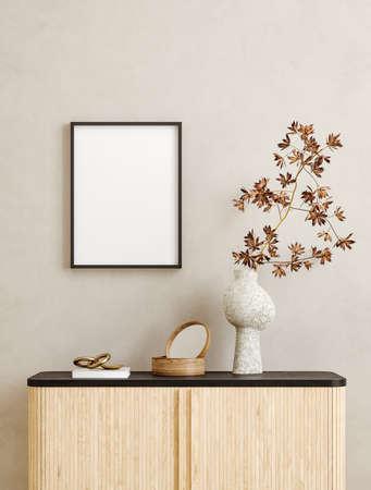 Mock up frame in home interior background, Scandi-Boho style, 3d render 版權商用圖片