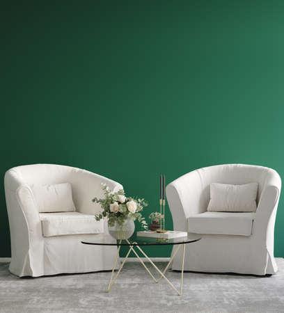 Home interior, luxury modern dark living room interior, green empty wall mock up, 3d render