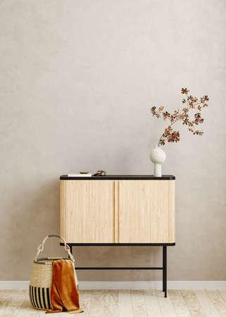 Mock up frame in home interior background, Scandi-Boho style, 3d render Banco de Imagens