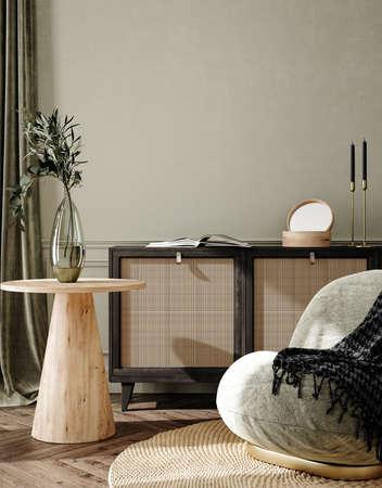 Home interior background, cozy room with natural wooden furniture, Scandi-Boho style, 3d render Banco de Imagens
