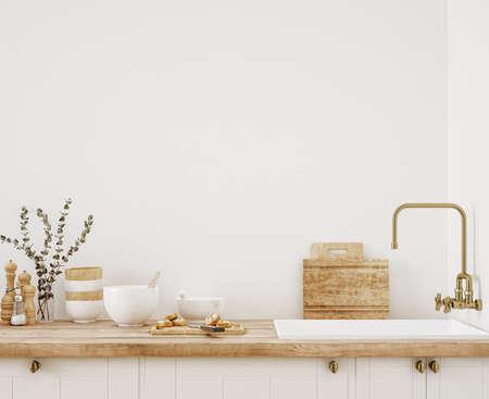 Wall mockup in kitchen interior background, Farmhouse style, 3d render Standard-Bild