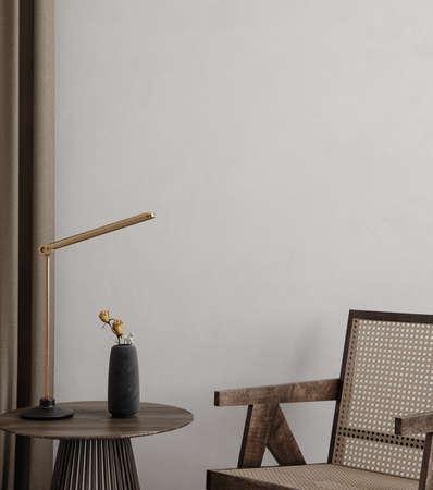 Minimalist modern bedroom interior background, wall mockup, 3d render