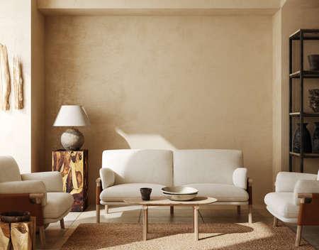 Contemporary nomadic home interior background in warm beige tones, 3d render
