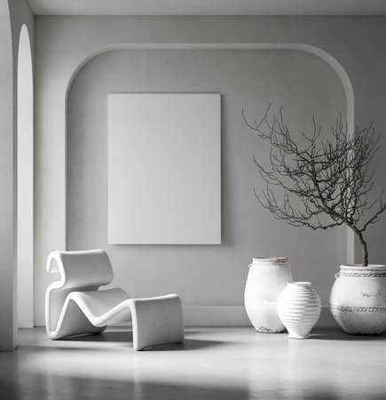 Canvas mockup in minimalist interior background with armchair and rustic decor, 3d render Stock fotó