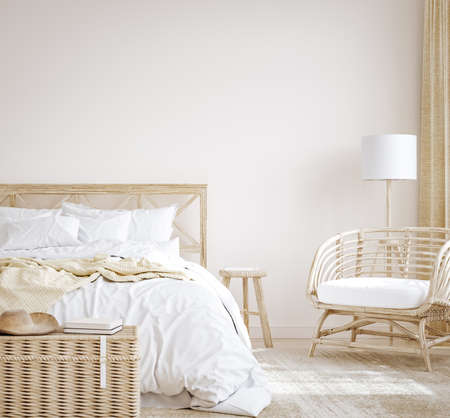 Farmhouse style bedroom interior background, 3d render