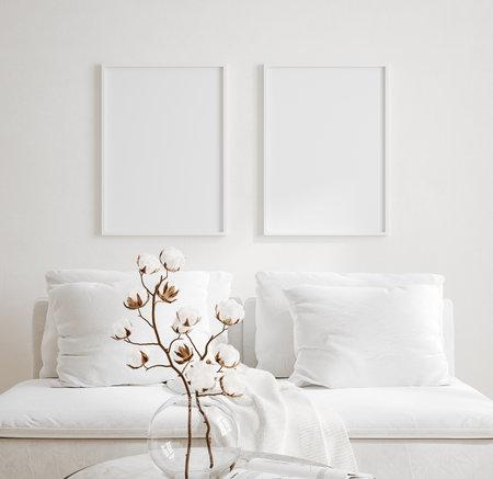 Mockup frame in cozy light minimalist living room interior close up, Scandinavian interior background, 3d render Stock fotó