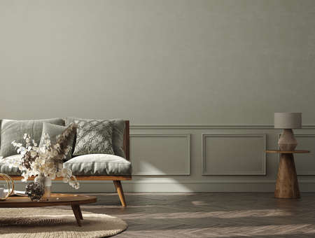 Home interior background, cozy room with natural wooden furniture, Scandi-Boho style, 3d render Stock fotó