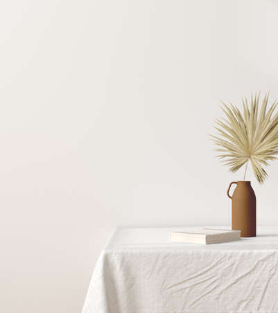 Blank wall mock up in home interior background with decor on table, 3d render