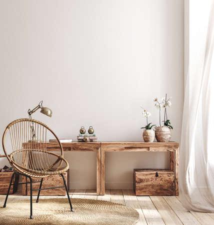 Cozy farmhouse living room interior, 3d render Banco de Imagens