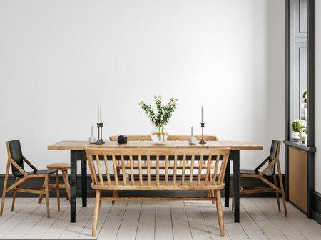 Scandinavian living room interior background, wall mockup, 3d render