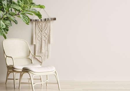 Home mockup, cozy beige minimalist interior background, Boho style, 3d render