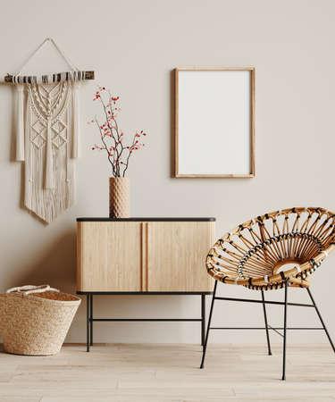 Mock up frame in cozy beige home interior background, Boho style, 3d render Banco de Imagens