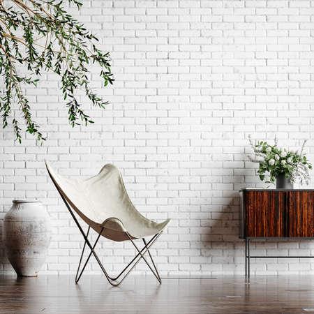 Home interior loft in industrial style, 3d render