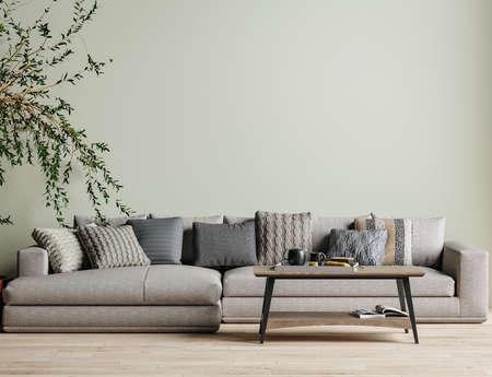 Modern interior background, wall mock up, 3d render Banco de Imagens