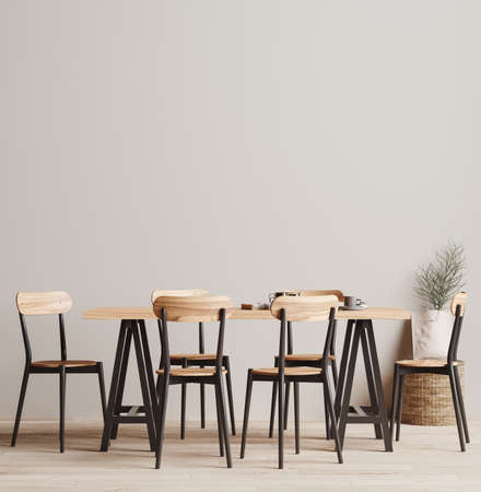 Dining room interior background, wall mock up, 3d render Banco de Imagens