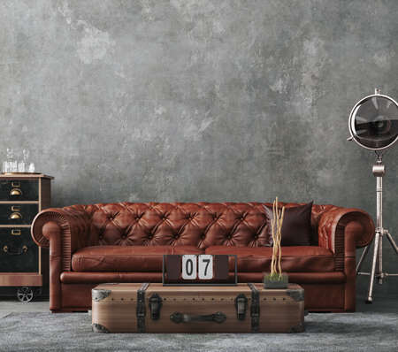 Living room interior in loft, industrial style, 3d render Banco de Imagens
