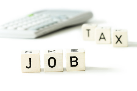 money concept: Job tax money calculator economy concept. white background. letters