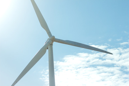 windmill: windmill on blue sky. can be used for windmills, energy, nature, climate and environment themes